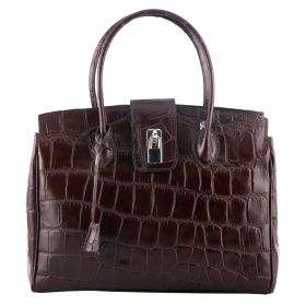 Chelsea Brown Croco Handbag