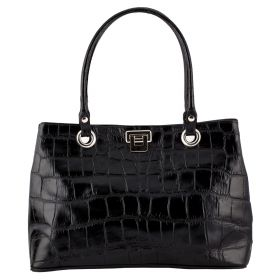 City Black Croco Leather Handbag