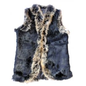 Long Rabbit Fur Gilet Black