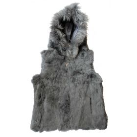 Rabbit Fur Hooded Gilet Grey