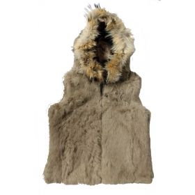Rabbit Fur Hooded Gilet Natural