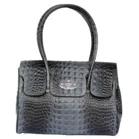 Tara D Grey Croco Leather Handbag