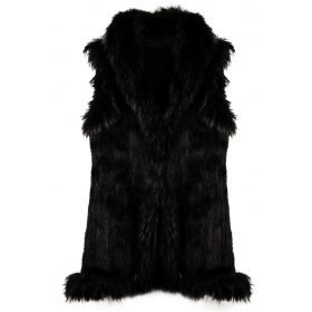 Mink Gilet Black Long
