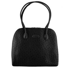 Paris Black Ostrich Bag