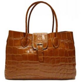 Santa Tan Croco Handbag