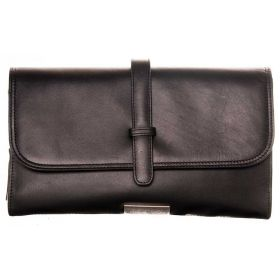 V Clutch Black Soft Leather