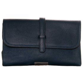 V Clutch Dark Blue Leather