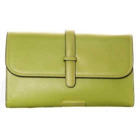 V Clutch Light Green Soft Leather