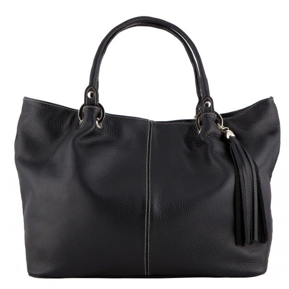 Amber Black Leather Handbag