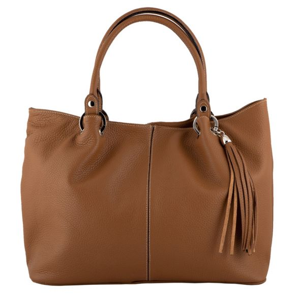 Amber Tan Leather Handbag