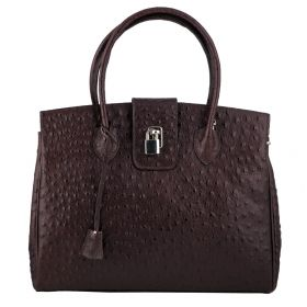 Chelsea Brown Ostrich Leather Bag
