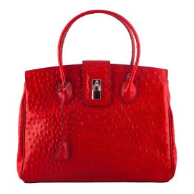 Chelsea Red Ostrich Leather Handbag
