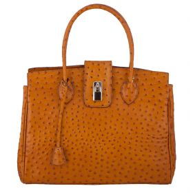 Chelsea Tan Ostrich Leather Bag
