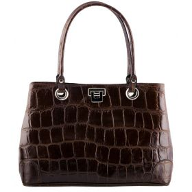 City Brown Croco Handbag