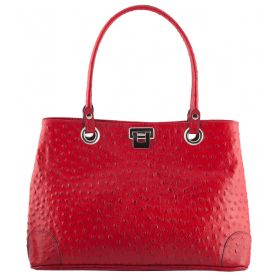 City Red Osrtrich Leather Bag