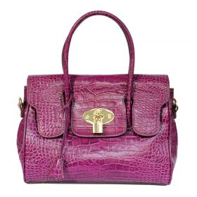 Emily M Purple Croco Leather Handbag