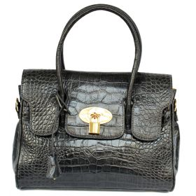 Emily M D Grey Croco Leather Handbag
