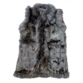 Long Rabbit Fur Gilet Brown