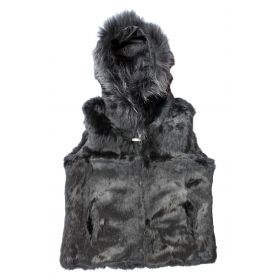 Rabbit Fur Hooded Gilet Black