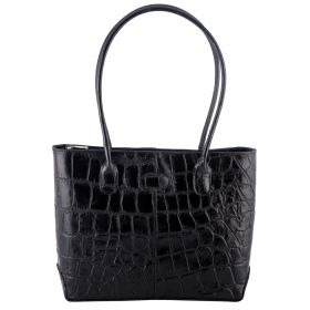 Molly Black Croco Leather Handbag