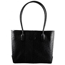 Molly Black Ostrich Handbag