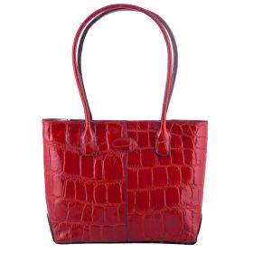 Molly Red Croco Tote Hand Held Bag