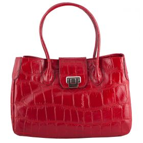 Rachael Red Croco Leather Handbag