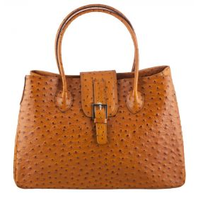 Santa Tan Ostrich Leather Bag