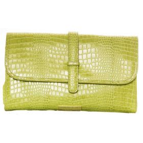 V Clutch Light Green Croco Bag