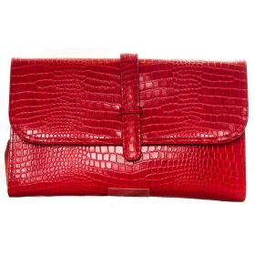 V Clutch Red Croco
